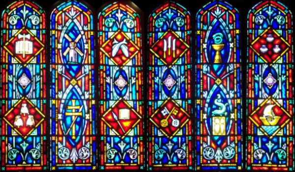 Christian Symbols Stained Glass Church Window Background Ichurch