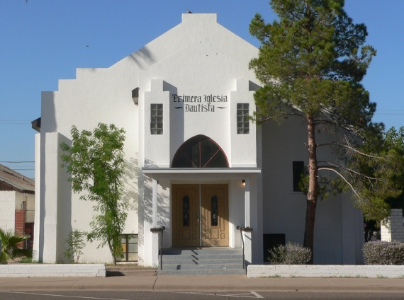Casa Grande, Arizona. Built in 1949. Added to the National Register of Historic Places 20 November 2002 at the Church of the Nazarene. Currently Primera Iglesia Baptista (photo from Wikimedia Commons).