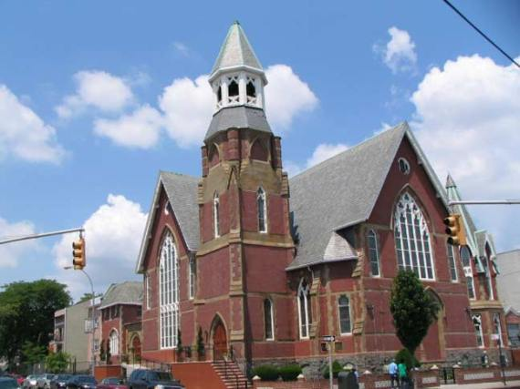 Brooklyn, NY, Community Worship Service, once the Miller Memorial Church of the Nazarene, was built in 1877 as the East Reformed Church (photo from forgotten-ny.com).